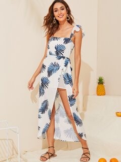 Tropical Ruffle Trim Split Thigh Backless Dress