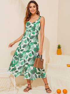 Tie Back Single Breasted Tropical Slip Dress