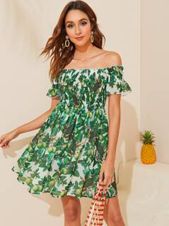 Off Shoulder Ruffle Trim Shirred Flare Dress