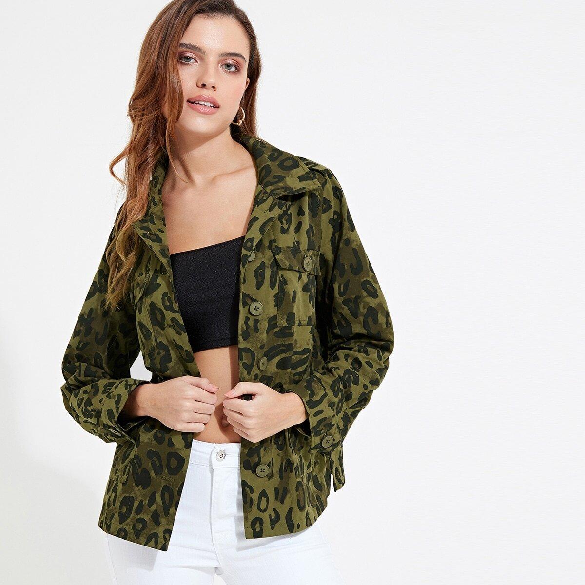 Veel kleurig Casual Camouflage Jassen Zak