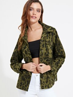 Flap Pocket Front Leopard Print Jacket