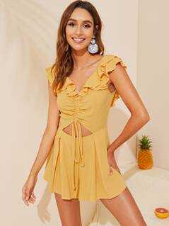 Layered Ruffle Trim Drawstring Ruched Front Backless Romper
