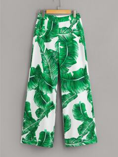 Tropical Print Wide Leg Pants