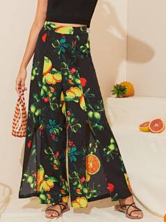 Fruit Print Split Hem Wide Leg Pants