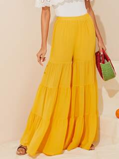 Elastic Waist Layered Ruffle Hem Super Wide Leg Pants
