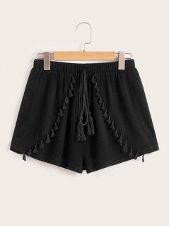 Tassel Detail Drawstring Waist Shorts