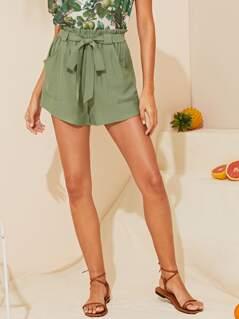 Paperbag Waist Patch Pocket Belted Shorts