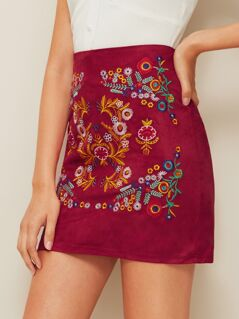 Embroidery Floral Print Skirt