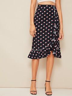 Polka-dot Ruffle Hem Wrap Knotted Skirt