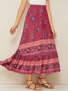 Ditsy Floral Print Flippy Hem Skirt