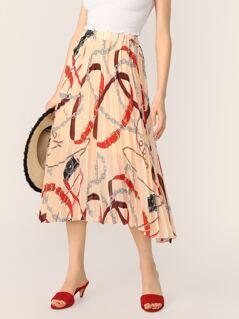 Elastic Waist Chain Print Pleated Skirt