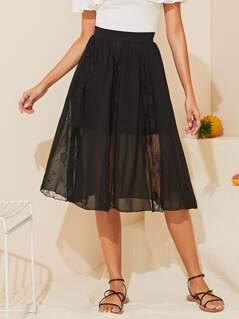 Wide Waistband Sheer Lace Insert Skirt