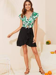 Ruffle Hem Wrap Knotted Skirt