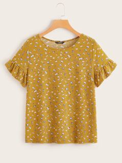 Ruffle Cuff Ditsy Floral Tee