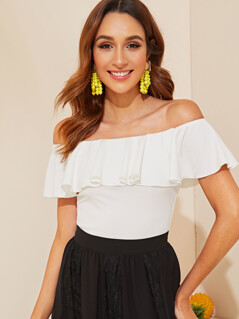 Flounce Off Shoulder Fitted Top