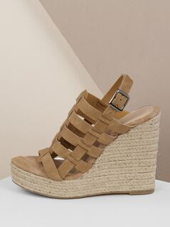 Strappy Slingback Jute Platform Wedge Sandals