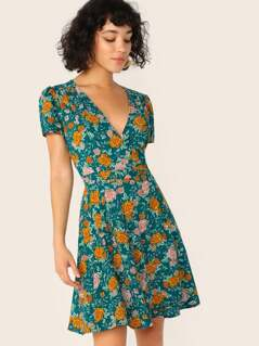 V-Neck Short Sleeve Floral Wrap Dress