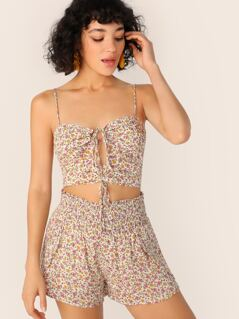 Calico Print Tie Front Crop Top And Shorts Set