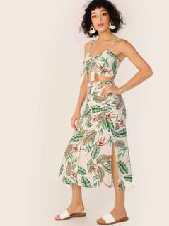 Leaf Print Tie Crop Top And Skirt Set
