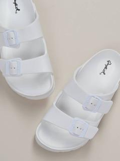 Two Buckle Slide On Comfort Footbed Sandals