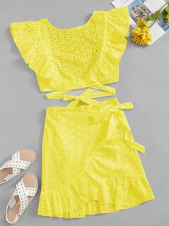 Neon Yellow Knotted Schiffy Top & Ruffle Wrap Skirt Set
