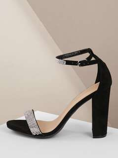 Crystal Strap Buckled Ankle Chunky Heel Sandals