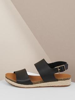 Double Band Slingback Jute Trim Flatform Sandals