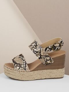 Double Band Snakeskin Slingback Platform Wedges