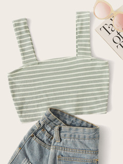 Rib-knit Striped Crop Top
