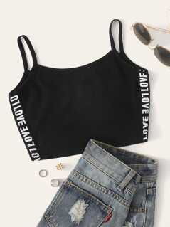 Letter Tape Side Crop Cami Top