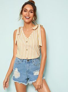 Knot Shoulder Button Front Striped Tank Top