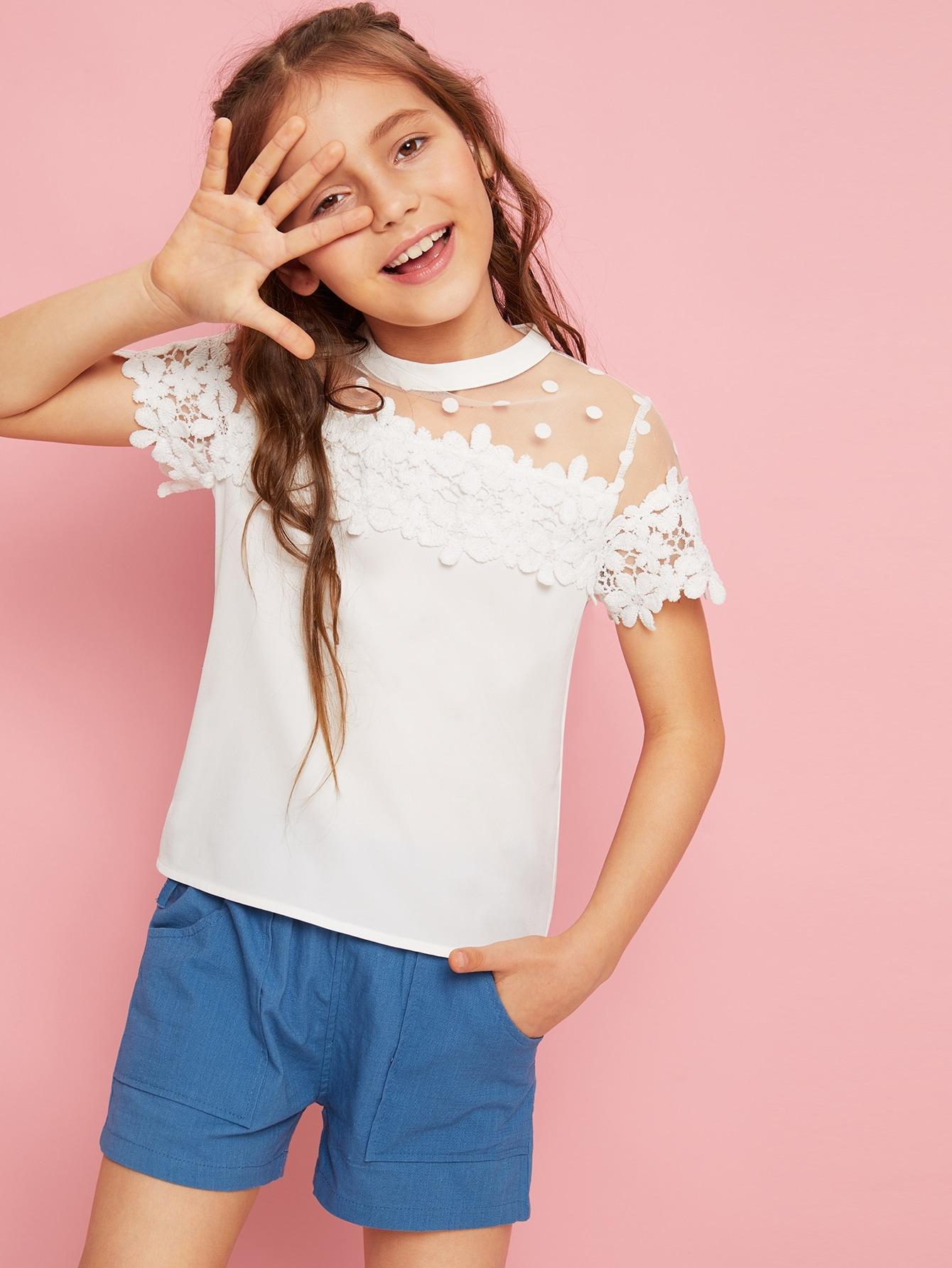 Фото - Топ в горошек с кружевом для девочек от SheIn белого цвета