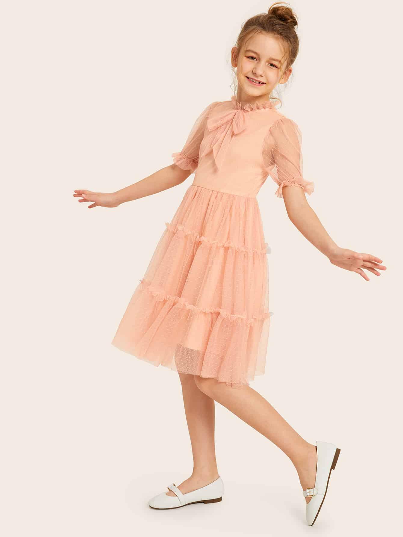 Фото - Платье с оборкой и завязкой на шее для девочек от SheIn цвет розовые