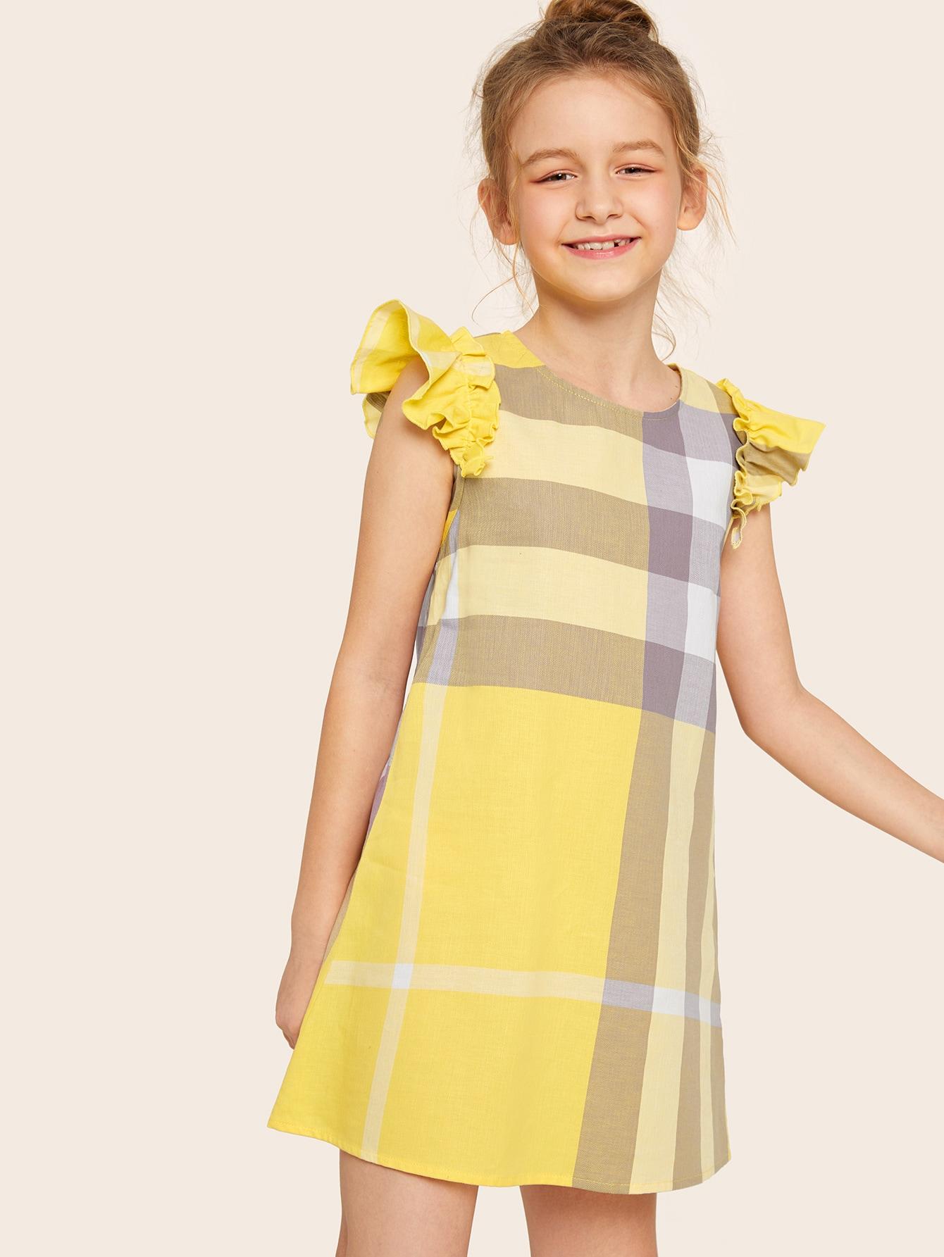 Фото - Платье в клетку с оборкой для девочек от SheIn цвет жёлтые