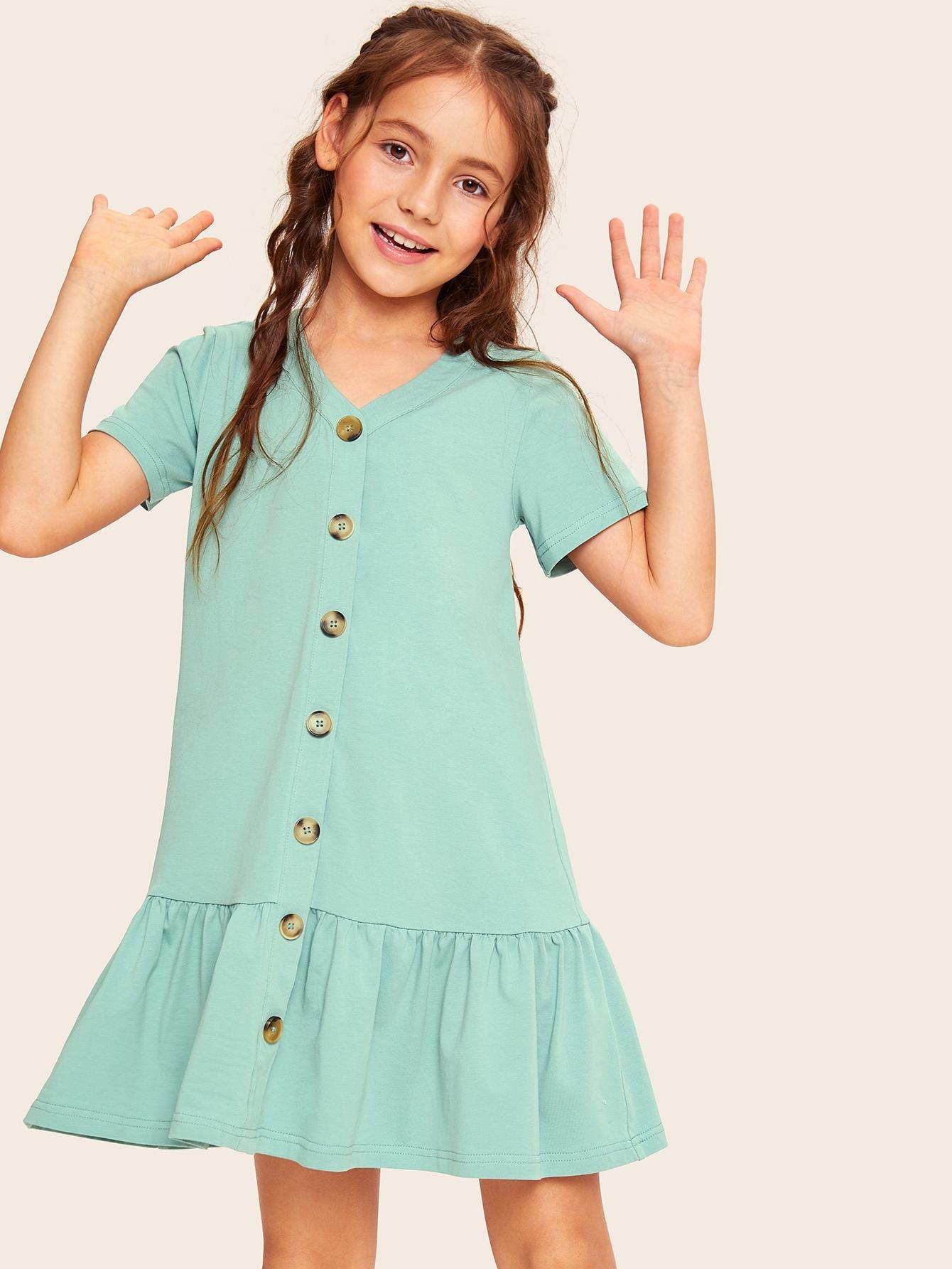 Фото - Платье с оборкой для девочек от SheIn цвет зелёные