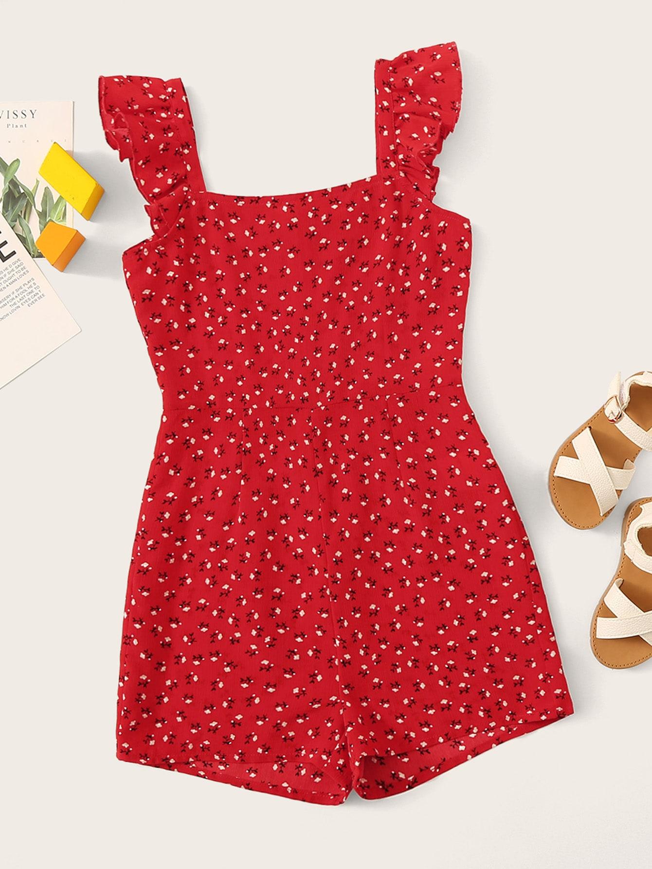 Фото - Комбинезон с цветочным принтом и оборкой для девочек от SheIn красного цвета