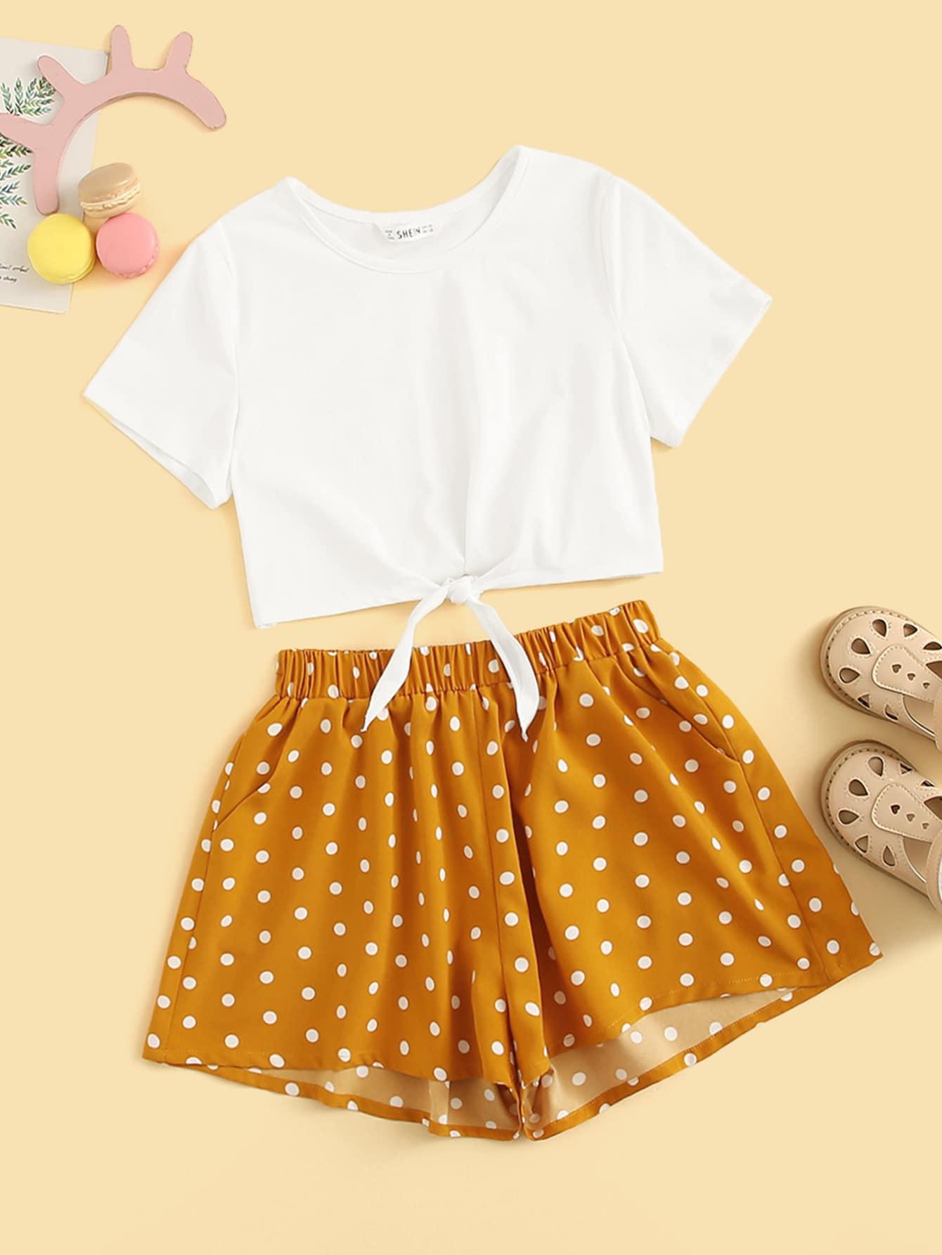 Фото - Футболку с узлом и шорты с карманом для девочек от SheIn цвет многоцветный