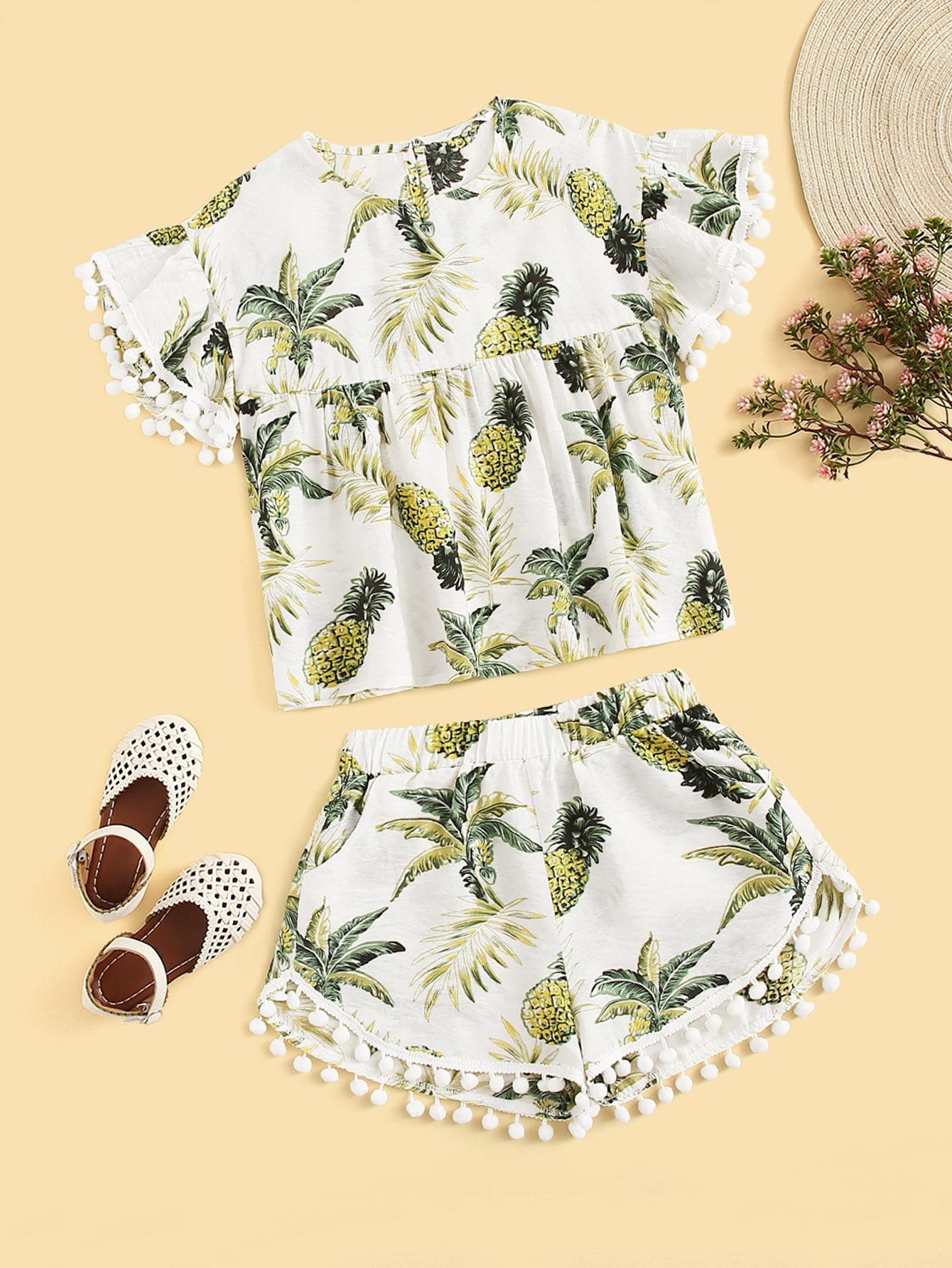 Фото - Топ и шорты для девочек от SheIn цвет многоцветный