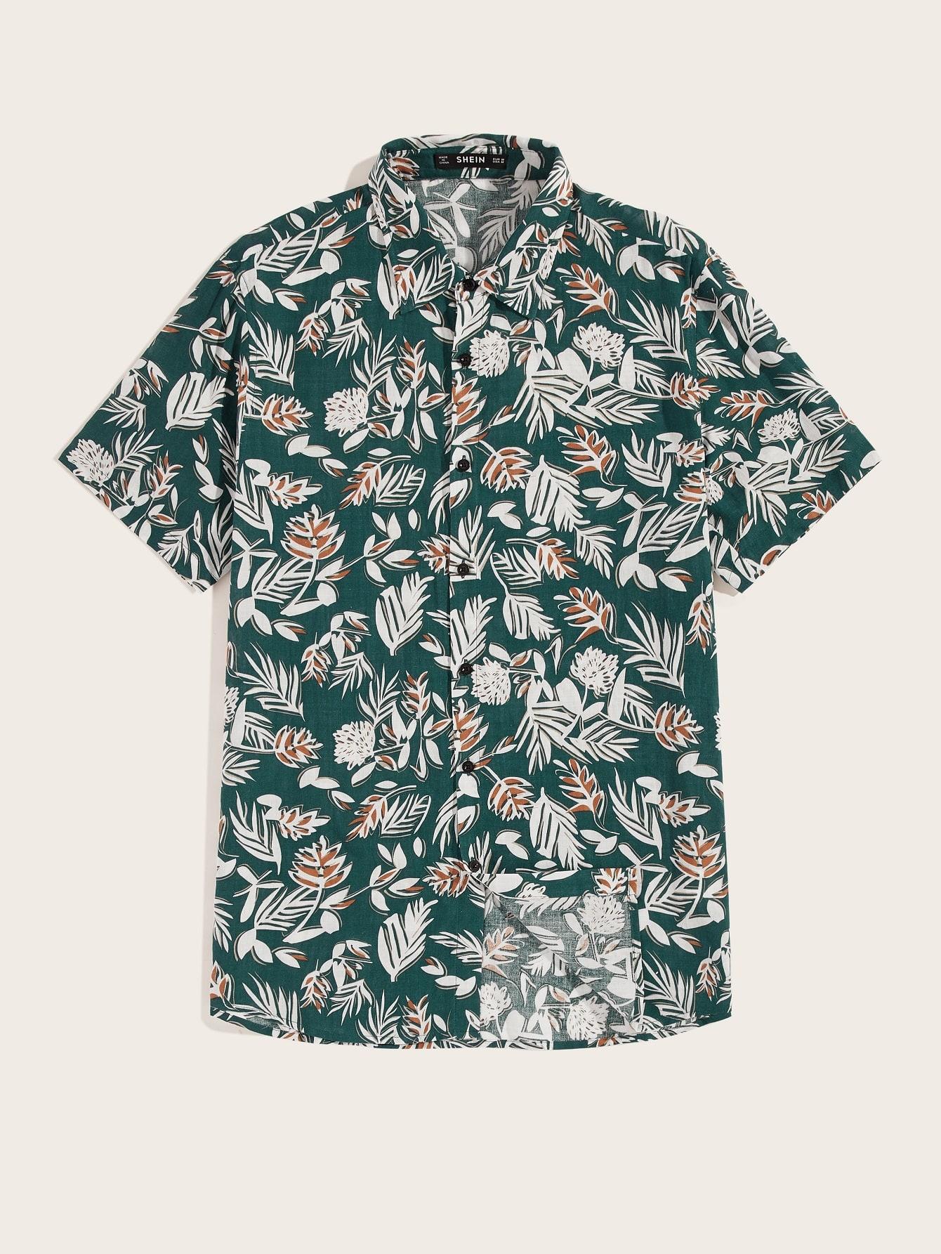 Фото - Мужская рубашка с ботаническим принтом от SheIn цвет многоцветный