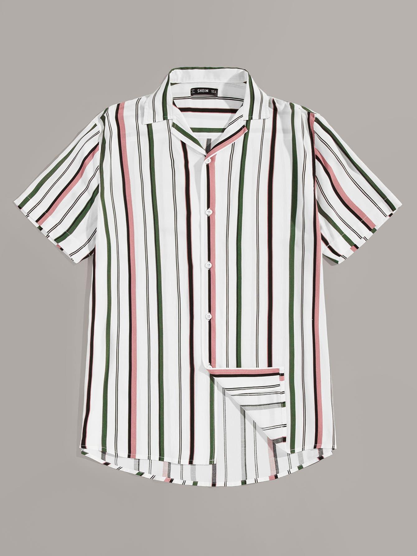 Фото - Мужская полосатая рубашка от SheIn цвет многоцветный