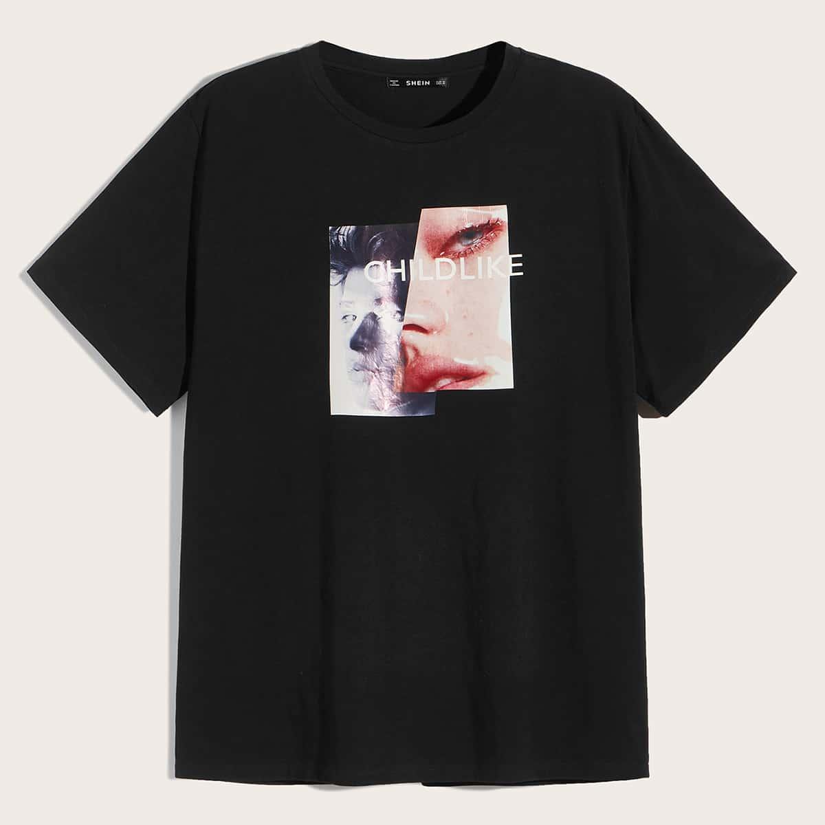 Zwart Casual Tekst Shirts mannen