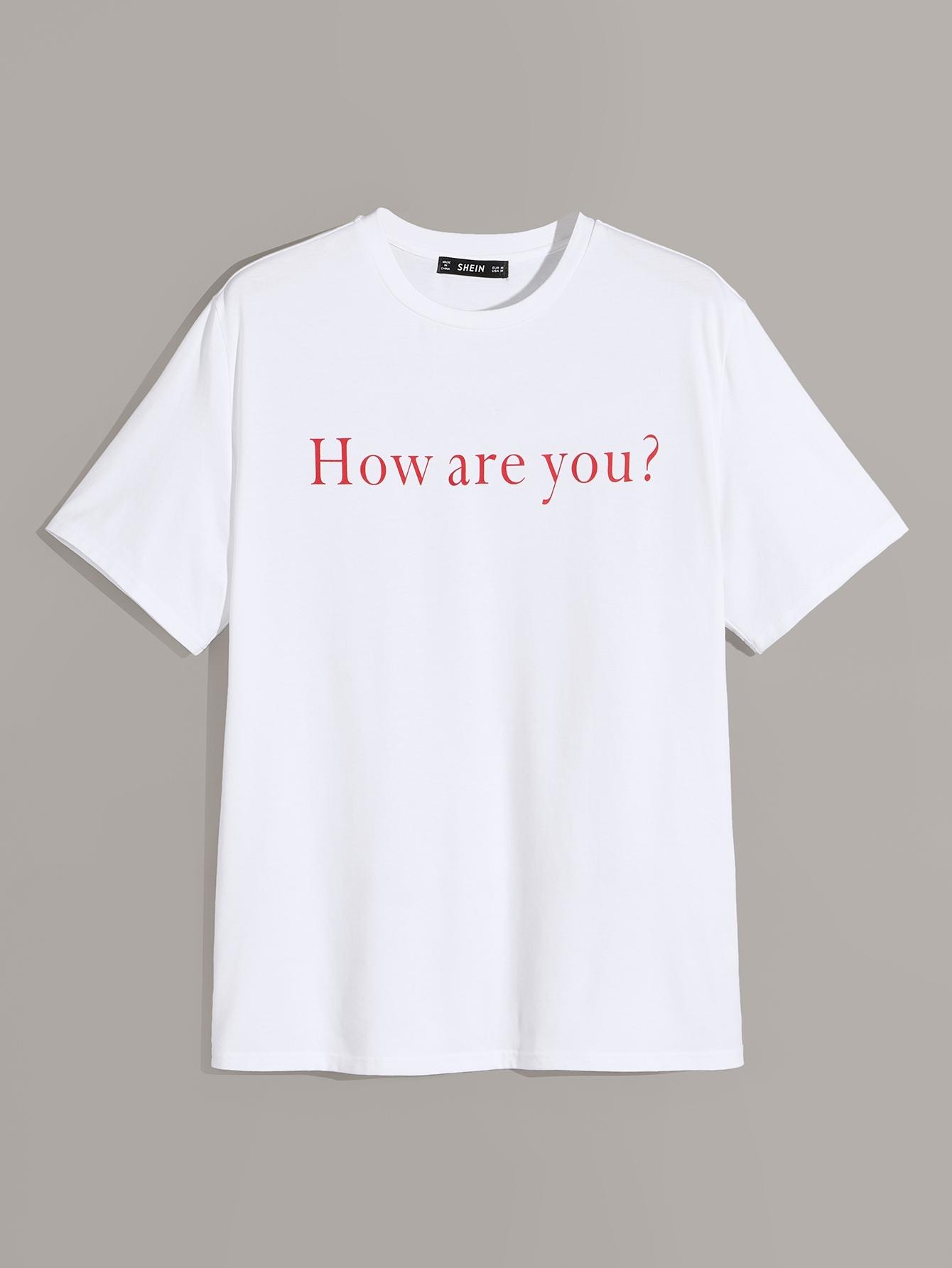 Фото - Мужская футболка с текстовым принтом от SheIn белого цвета
