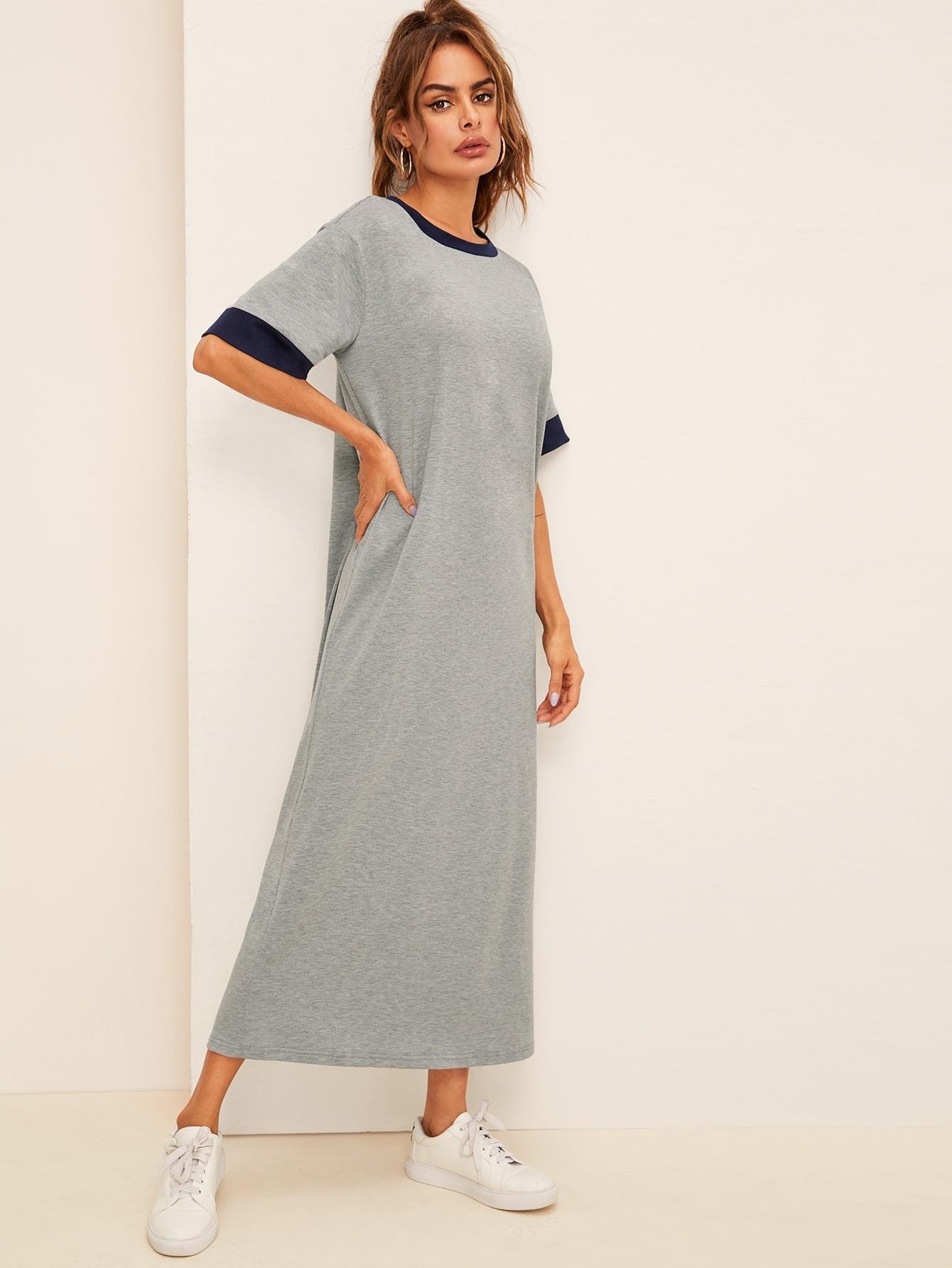 Фото - Платье с контрастным воротником и манжетой от SheIn цвет серые