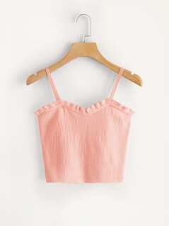 Rib-Knit Ruffle Trim Crop Top