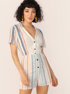 Button Front V-Neck Short Sleeve Stripe Romper