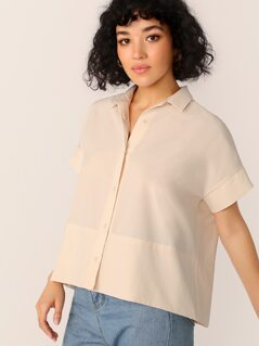 Solid Button Up Boxy Shirt