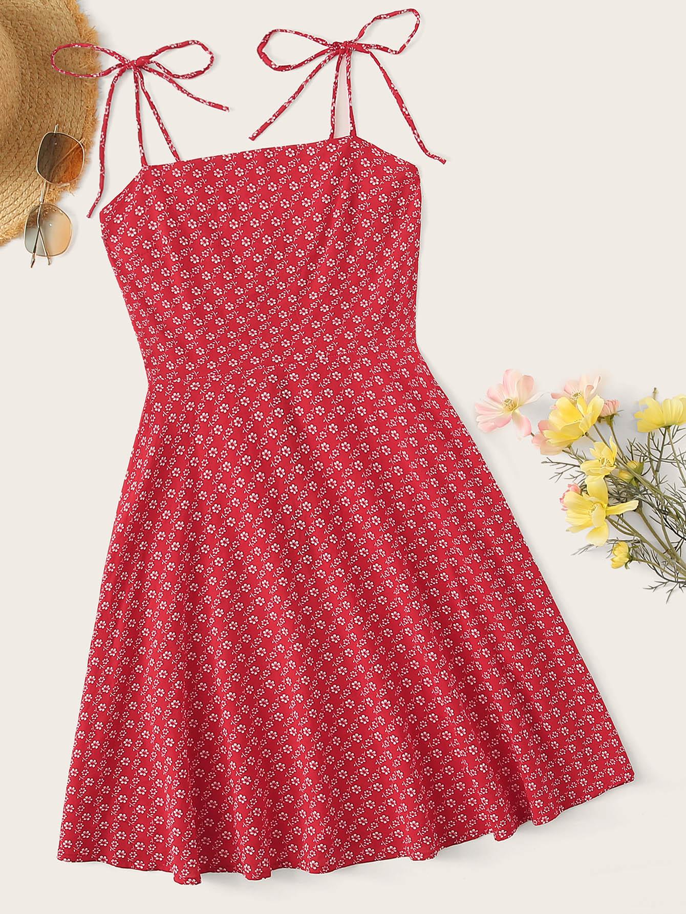 Фото - Цветочное платье на бретелях с молнией сзади от SheIn цвет красные