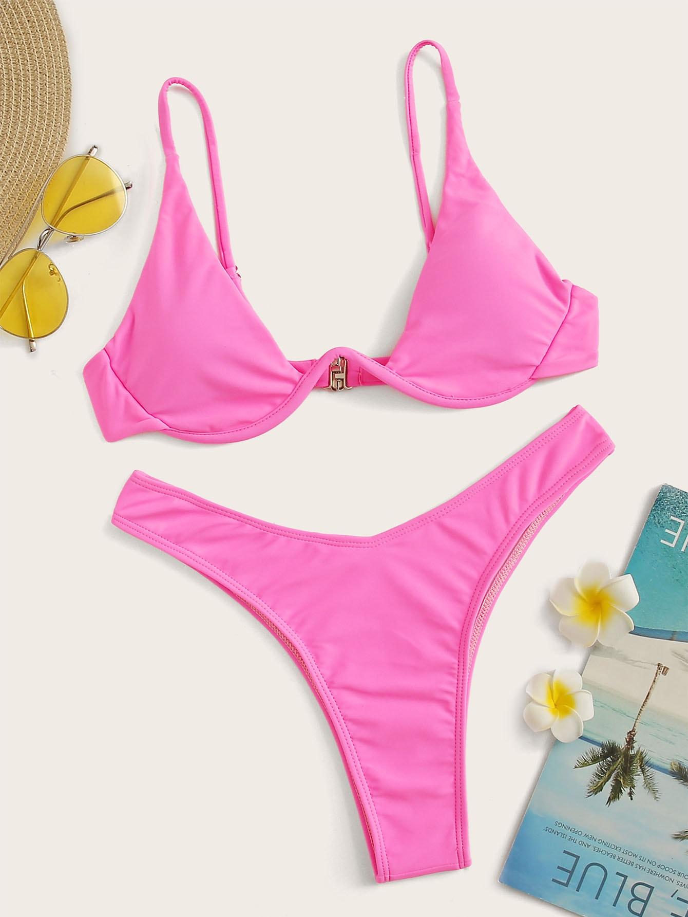 Фото - Бикини на косточках с высоким вырезом от SheIn розового цвета