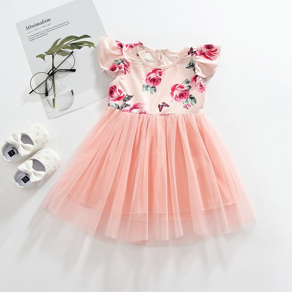 Платье с цветочным принтом и контрастной сеткой для девочек от SHEIN