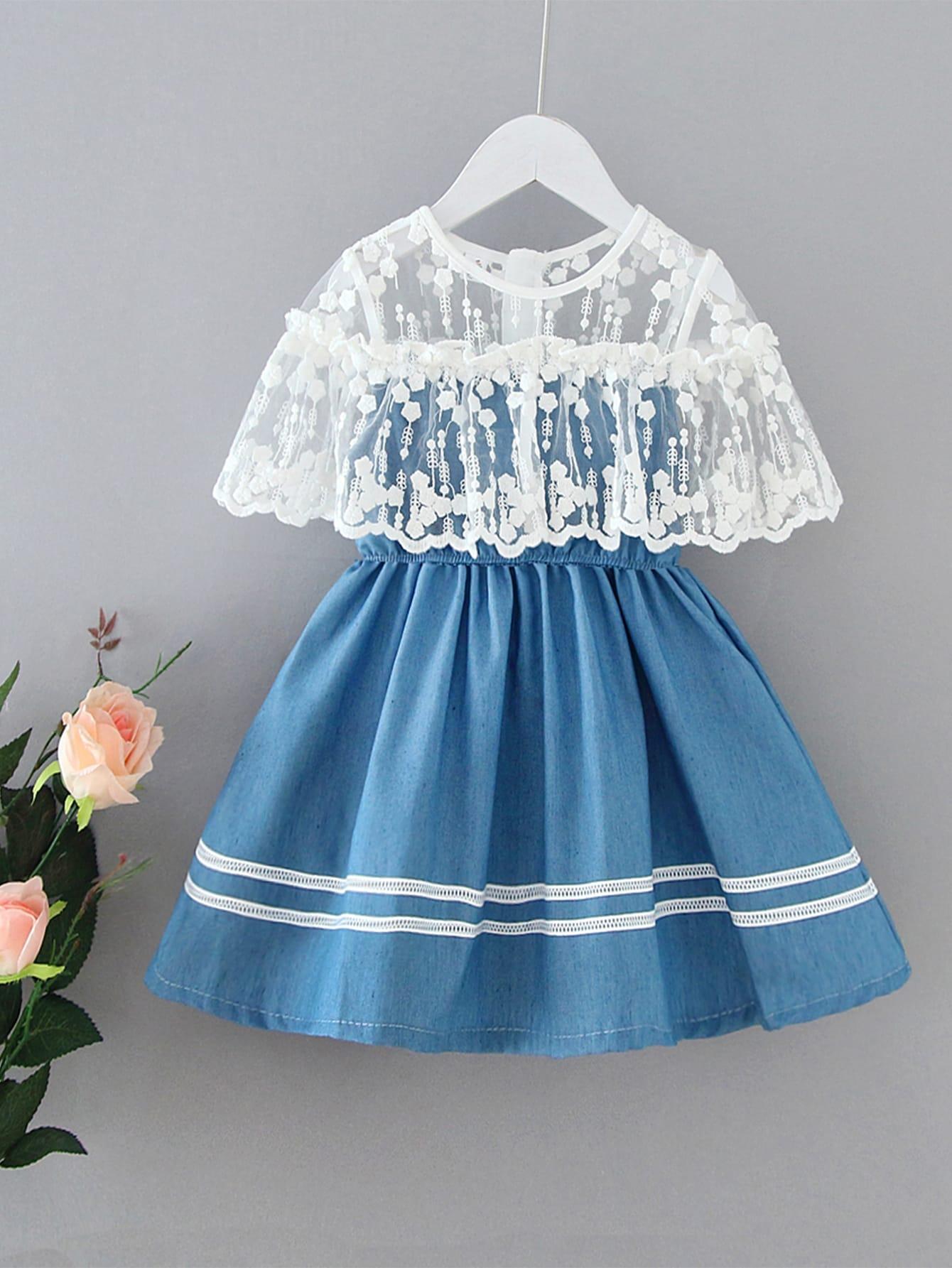 Фото - Платье с кружевом для девочек от SheIn цвет синие